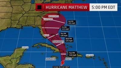 Hurricane Matthew affected coasts forecast.